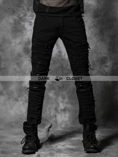Punk Rave  Black Gothic Punk Rivets Pants for Men