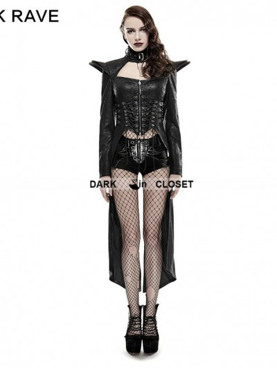 Punk Rave Black Gothic Punk Queen Long Rider Coat for Women