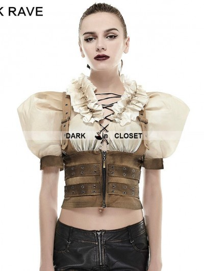 Punk Rave Steampunk Puff Sleeve Do Old Shirt