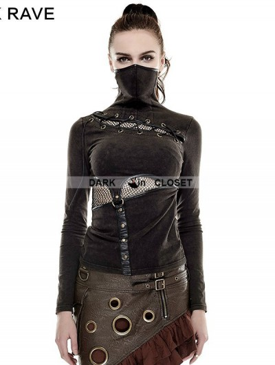 Punk Rave Steampunk Mask Style T-Shirt for Women