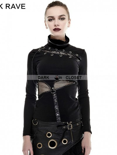 Punk Rave Black Gothic Steampunk Mask Style T-Shirt for Women
