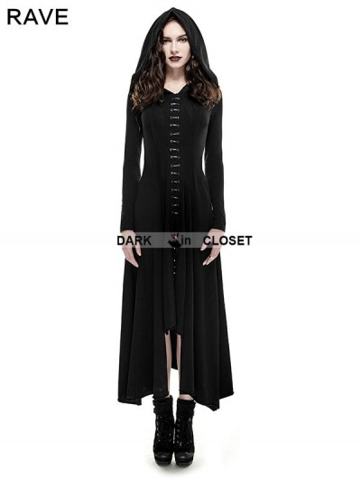 Punk Rave Black Gothic Long Knit Hooded Dress