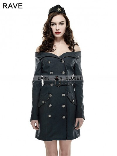 Punk Rave Off-the-Shoulder Gothic Sexy Military Uniform Dress