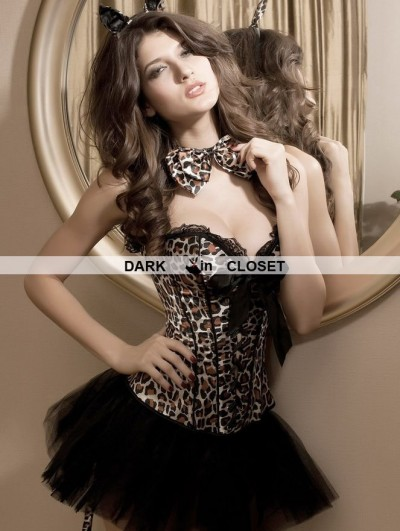 Leopard Pattern Burlesque Overbust Corset