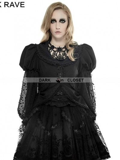Punk Rave Black Gothic Puff Sleeve Coat for Women