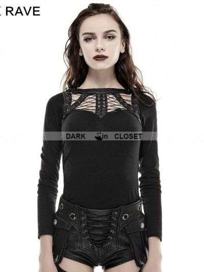 Punk Rave Black Gothic Punk Spider Bandage T-Shirt for Women