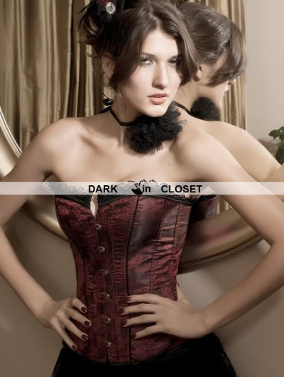 Wine Red Pattern Fashion Overbust Corset