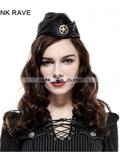 Punk Rave  Black Military Uniform Hat