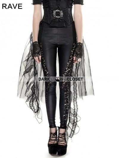 Punk Rave Black Gothic Mesh Swallow-Tail Skirt