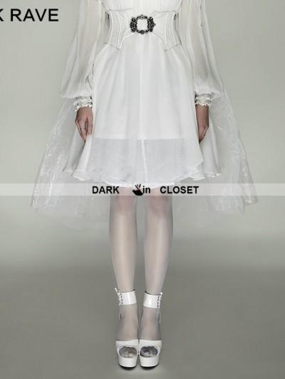Punk Rave White Gothic Mesh Swallow-Tail Dress