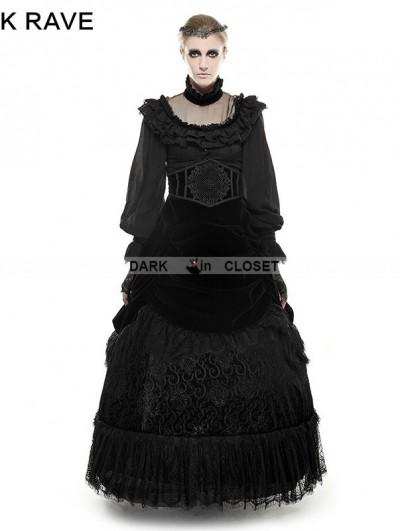 Punk Rave  Black Gothic Palace Big Swing Long Skirt