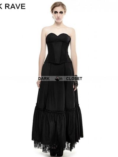 Punk Rave Black Lace Hem Gothic Dress