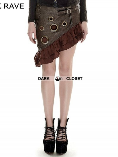 Punk Rave Coffee Steampunk Flounce Skirt