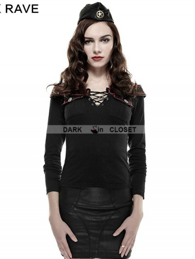 Punk Rave Black Off-the-Shoulder Military T-Shirt for Women