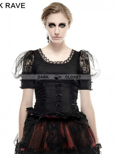 Punk Rave Black Gothic Lolita Pastoral Style T-Shirt for Women