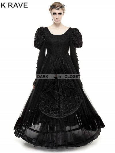 Punk Rave Black Big Swing Gothic Long Dress