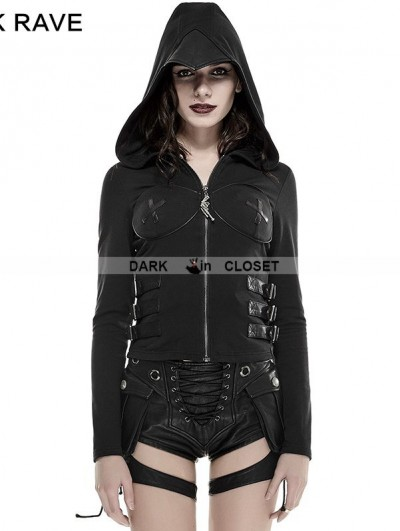Punk Rave Black Gothic Punk Hollow-Out Wings Sweater with Hood