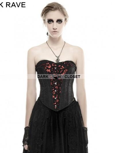 Punk Rave Black Gothic Three-Dimensional Flowers Corset