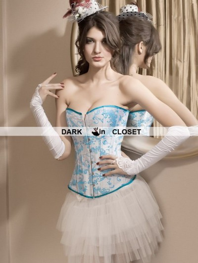 White and Blue Pattern Victorian Overbust Corset