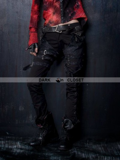 Punk Rave Black Gothic Punk Belt Pants for Women