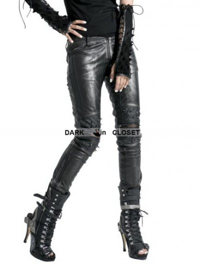 Punk Rave  Black and Sliver Leather Gothic Punk Pants for Women