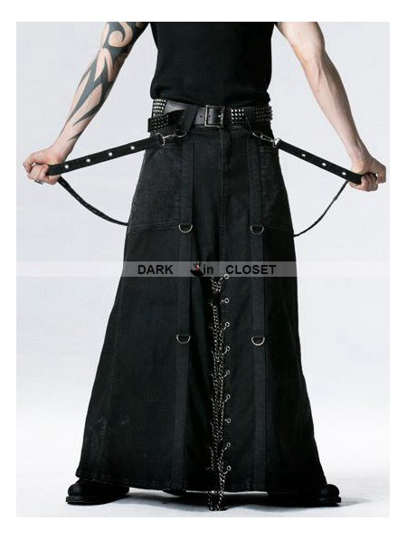 Punk Rave Black Gothic Punk Heavy Metal Long Skirt for Men ...