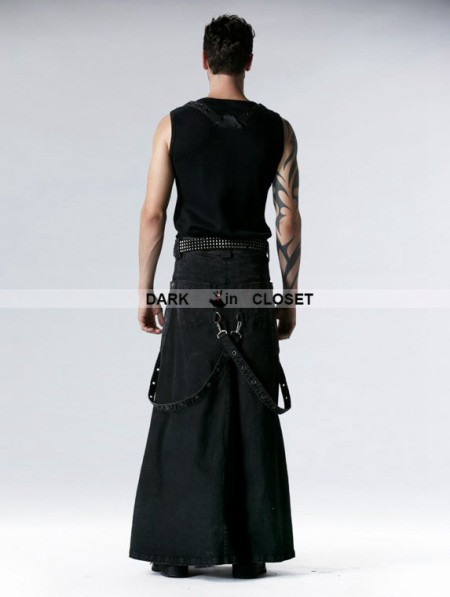 Punk Rave Black Gothic Punk Heavy Metal Long Skirt For Men