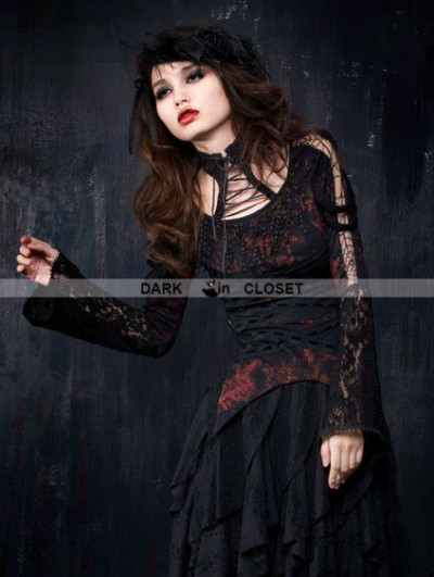 Punk Rave Black and Red Gothic Long Sleeve T-Shirt for Women