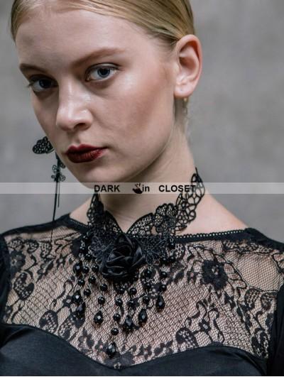 Devil Fashion Black Rose Pendant Gothic Necklace for Women