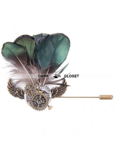 Devil Fashion Sage Green Feather Gothic Headdress for Women