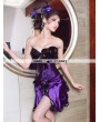 Purple Feather Burlesque Overbust Corset Skirt