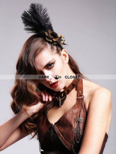 Devil Fashion Flower feather Steampunk Headdress for Women
