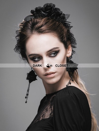 Devil Fashion Black Rose Lace Romantic Gothic Headdress for Women