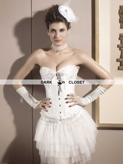 White Pattern Bridal Overbust Corset