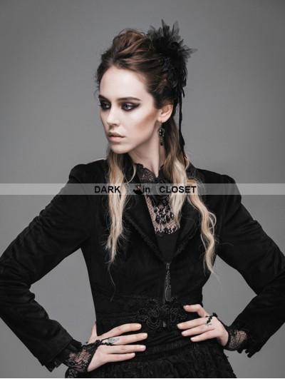 Devil Fashion Black Gothic Swallow Tail Short Jacket for Women