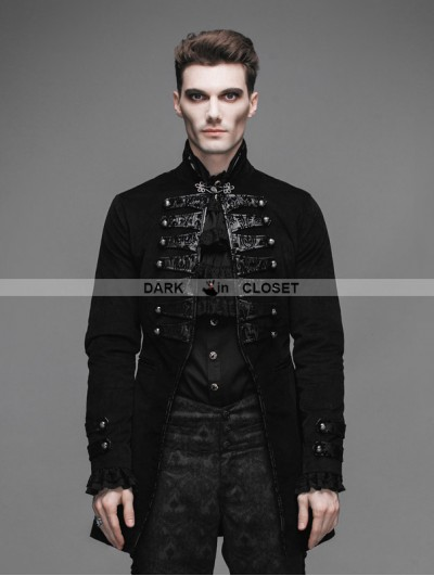 Devil Fashion Black Double-Breasted Gothic Palace Style Coat for Men
