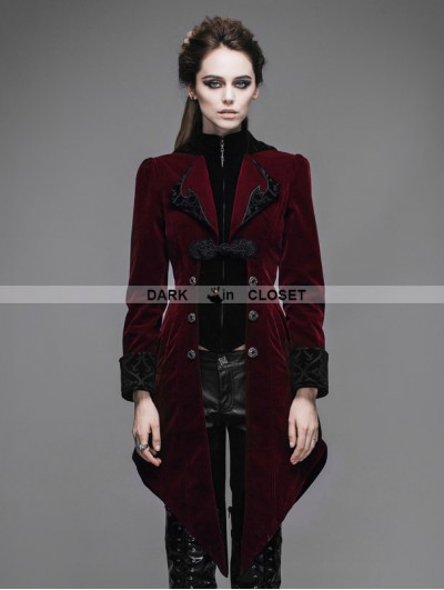 Devil Fashion Wine Red Vintage Gothic Swallow Tail Jacket for Women