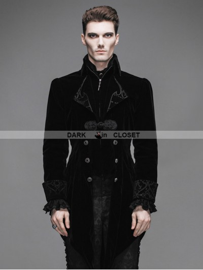 Devil Fashion Black Vintage Gothic Swallow Tail Jacket for Men