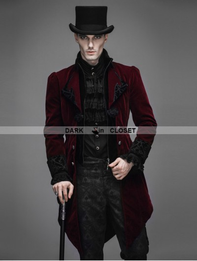 Devil Fashion Red Vintage Gothic Swallow Tail Jacket for Men
