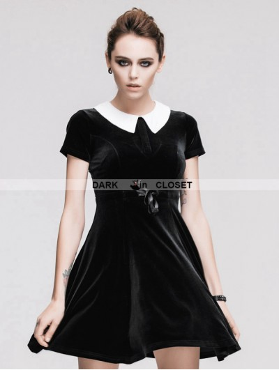 Devil Fashion Black Short Sleeves Velvet Hepburn Style Gothic Dress