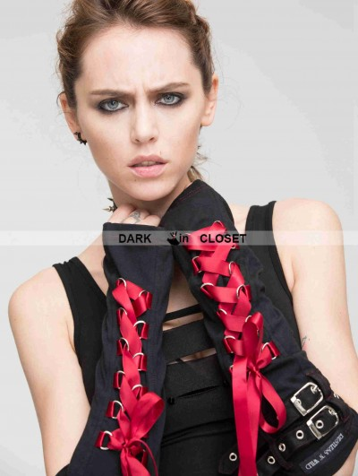 Devil Fashion Black Gothic Punk Red Ribbon Long Gloves