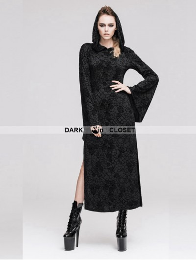Devil Fashion Black Pattern Gothic Hooded Long Dress for Women