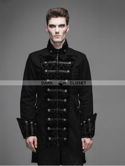Devil Fashion Vintage Black Double-Breasted Gothic Palace Coat for Men