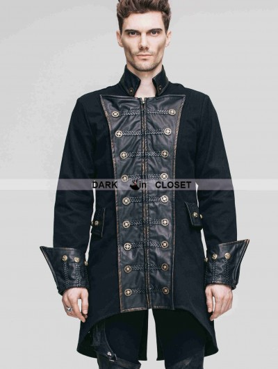 Devil Fashion Vintage Black Double-Breasted Gothic Coat for Men