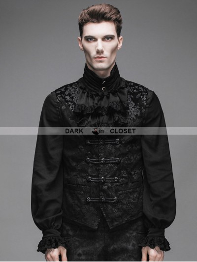 Devil Fashion Black Royal Pattern Gothic Vest for Men