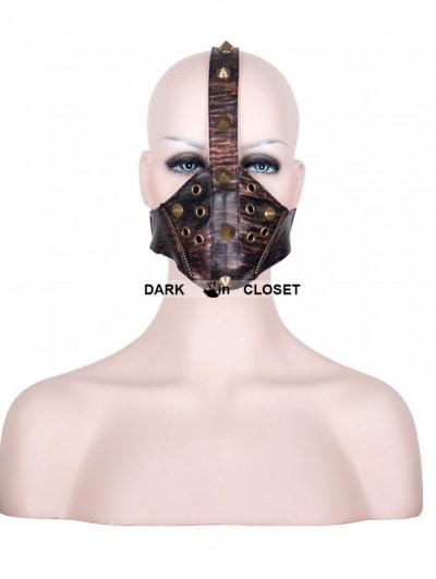 Devil Fashion Brown Leather Rivet Steampunk Mask