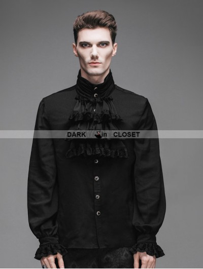 Devil Fashion Black Flounce Tie Gothic Blouse for Men