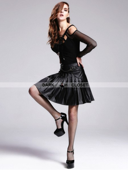 Devil Fashion Black Leather Gothic Pleated Short Skirt