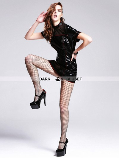 Devil Fashion Black PVC Short Sleeves Gothic Dress