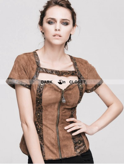 Devil Fashion Steampunk Short Sleeves Shirt for Women